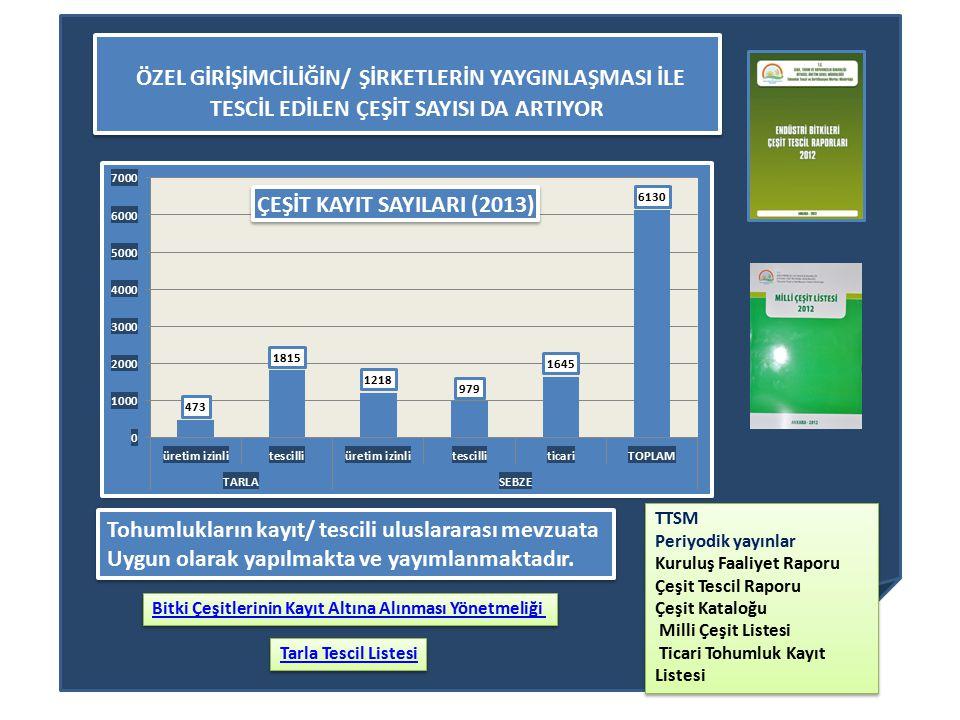 ÖZEL GİRİŞİMCİLİĞİN/ ŞİRKETLERİN YAYGINLAŞMASI İLE TESCİL EDİLEN ÇEŞİT SAYISI DA ARTIYOR