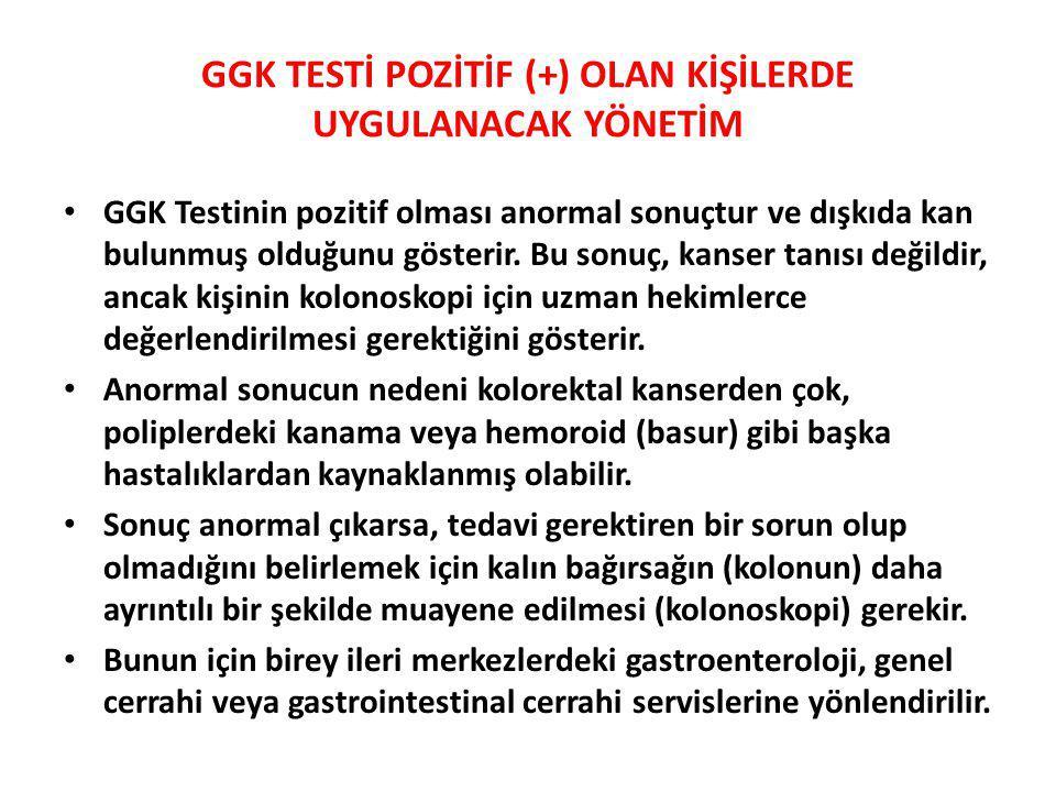 GGK TESTİ POZİTİF (+) OLAN KİŞİLERDE UYGULANACAK YÖNETİM