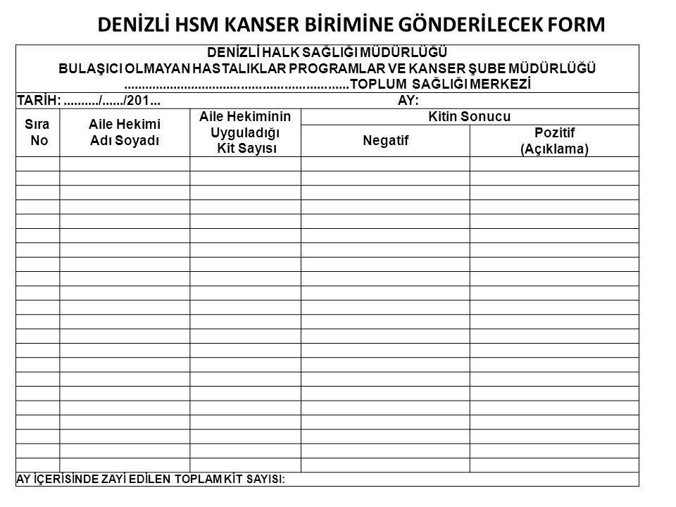 DENİZLİ HSM KANSER BİRİMİNE GÖNDERİLECEK FORM