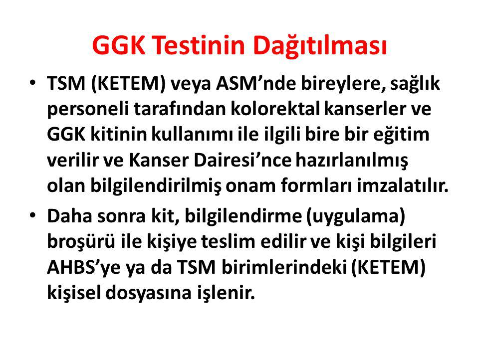 GGK Testinin Dağıtılması