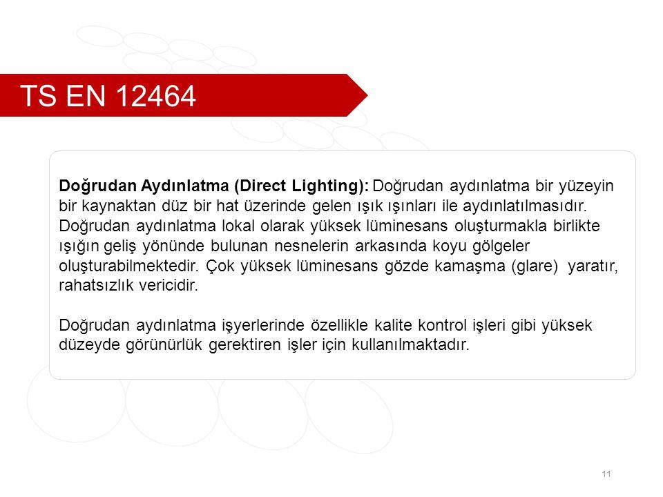 TS EN 12464 Doğrudan Aydınlatma (Direct Lighting): Doğrudan aydınlatma bir yüzeyin.