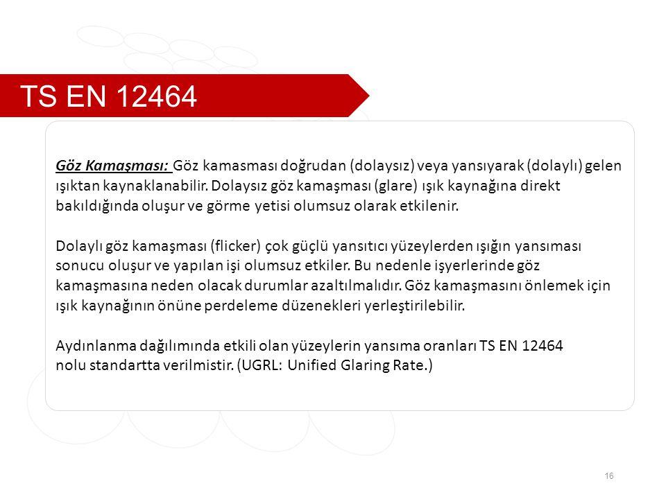 TS EN 12464 Göz Kamaşması: Göz kamasması doğrudan (dolaysız) veya yansıyarak (dolaylı) gelen.