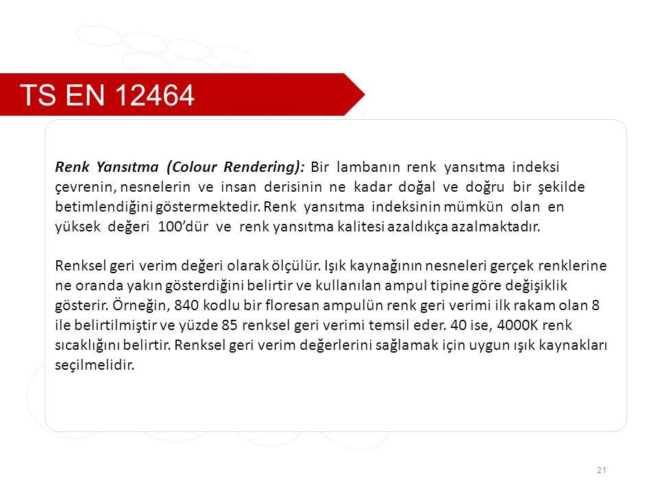 TS EN 12464 Renk Yansıtma (Colour Rendering): Bir lambanın renk yansıtma indeksi.
