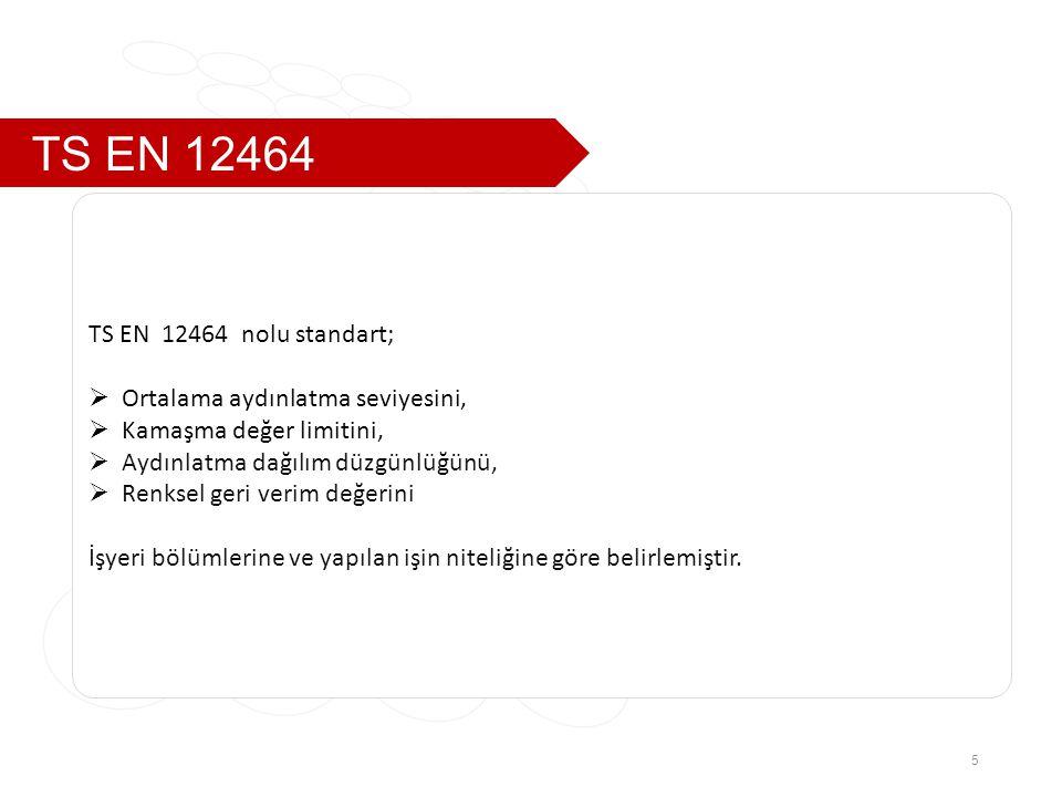 TS EN 12464 TS EN 12464 nolu standart; Ortalama aydınlatma seviyesini,