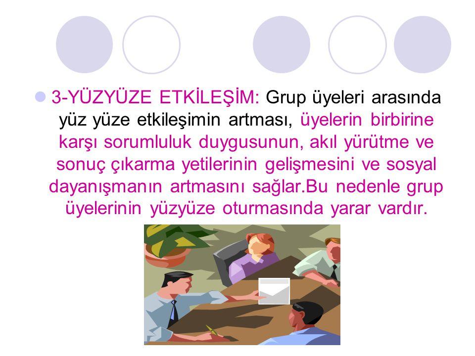 3-YÜZYÜZE ETKİLEŞİM: Grup üyeleri arasında yüz yüze etkileşimin artması, üyelerin birbirine karşı sorumluluk duygusunun, akıl yürütme ve sonuç çıkarma yetilerinin gelişmesini ve sosyal dayanışmanın artmasını sağlar.Bu nedenle grup üyelerinin yüzyüze oturmasında yarar vardır.
