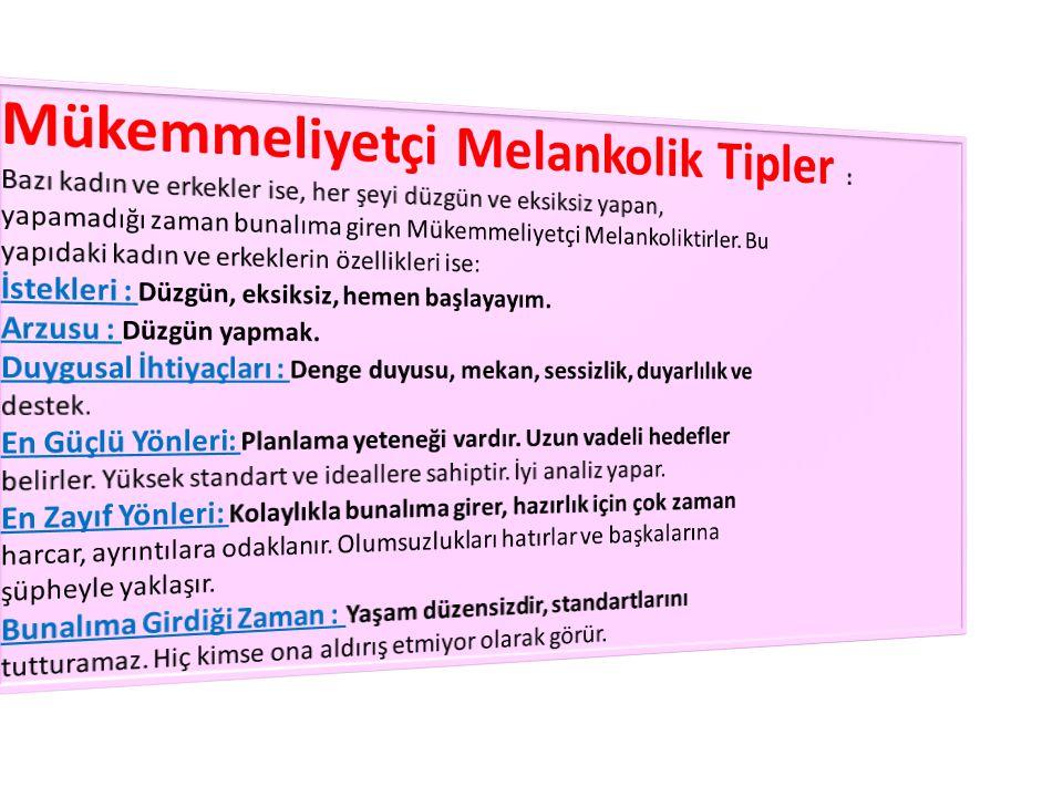 Mükemmeliyetçi Melankolik Tipler :