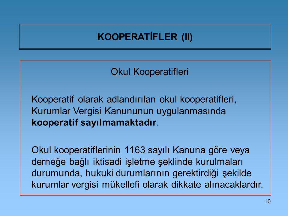 KOOPERATİFLER (II) Okul Kooperatifleri.