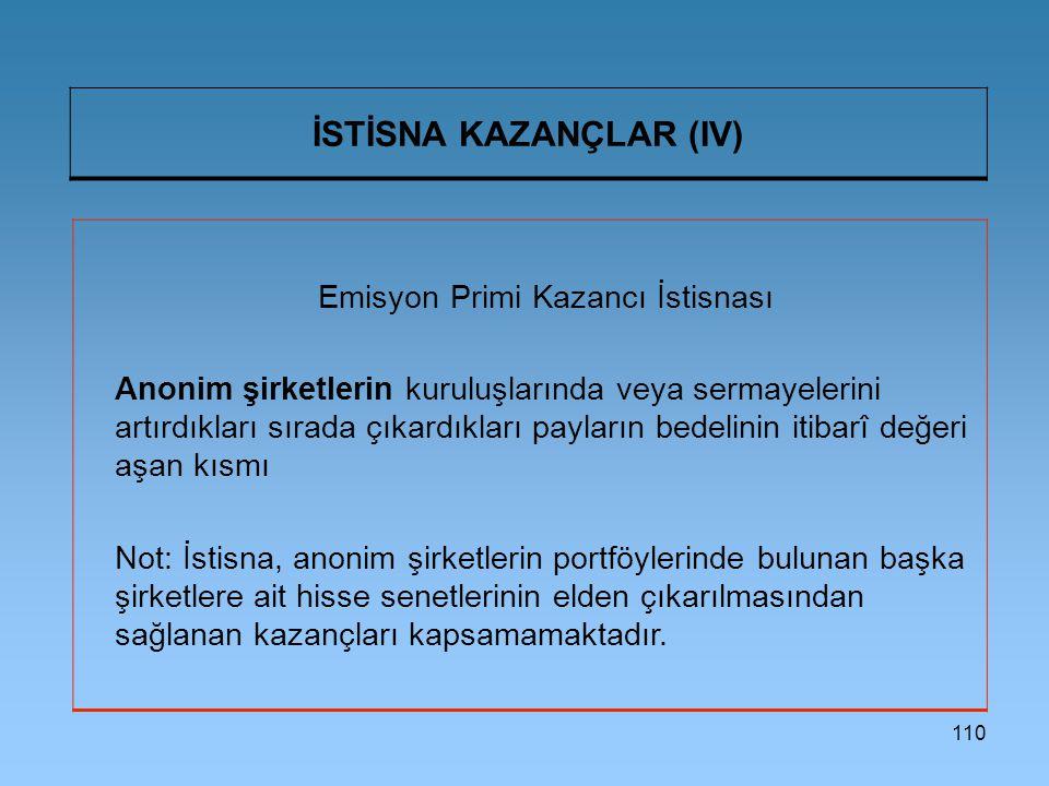 İSTİSNA KAZANÇLAR (IV)