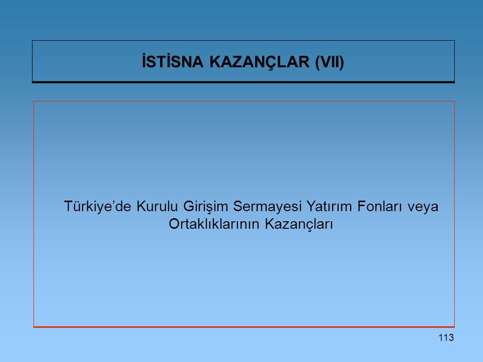 İSTİSNA KAZANÇLAR (VII)
