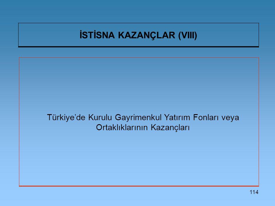 İSTİSNA KAZANÇLAR (VIII)