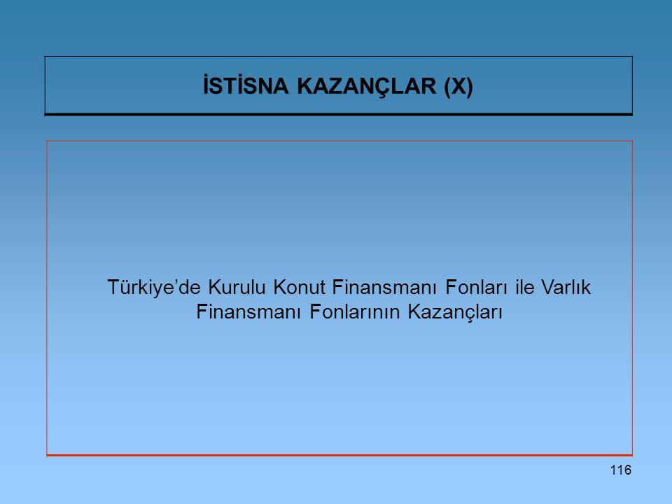 İSTİSNA KAZANÇLAR (X) Türkiye'de Kurulu Konut Finansmanı Fonları ile Varlık Finansmanı Fonlarının Kazançları.