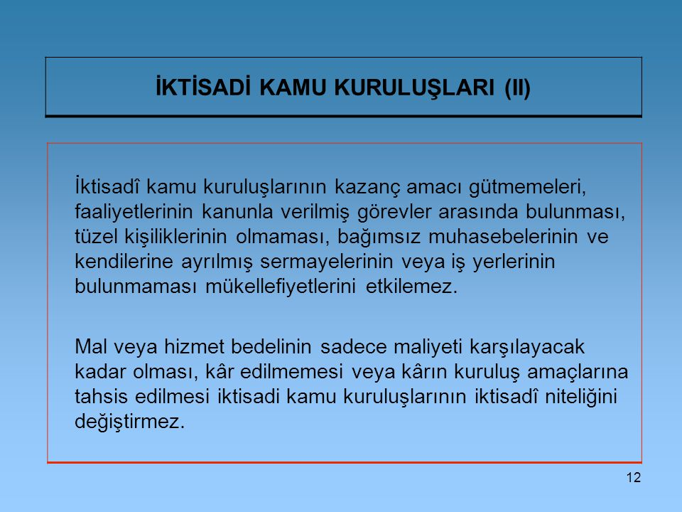 İKTİSADİ KAMU KURULUŞLARI (II)