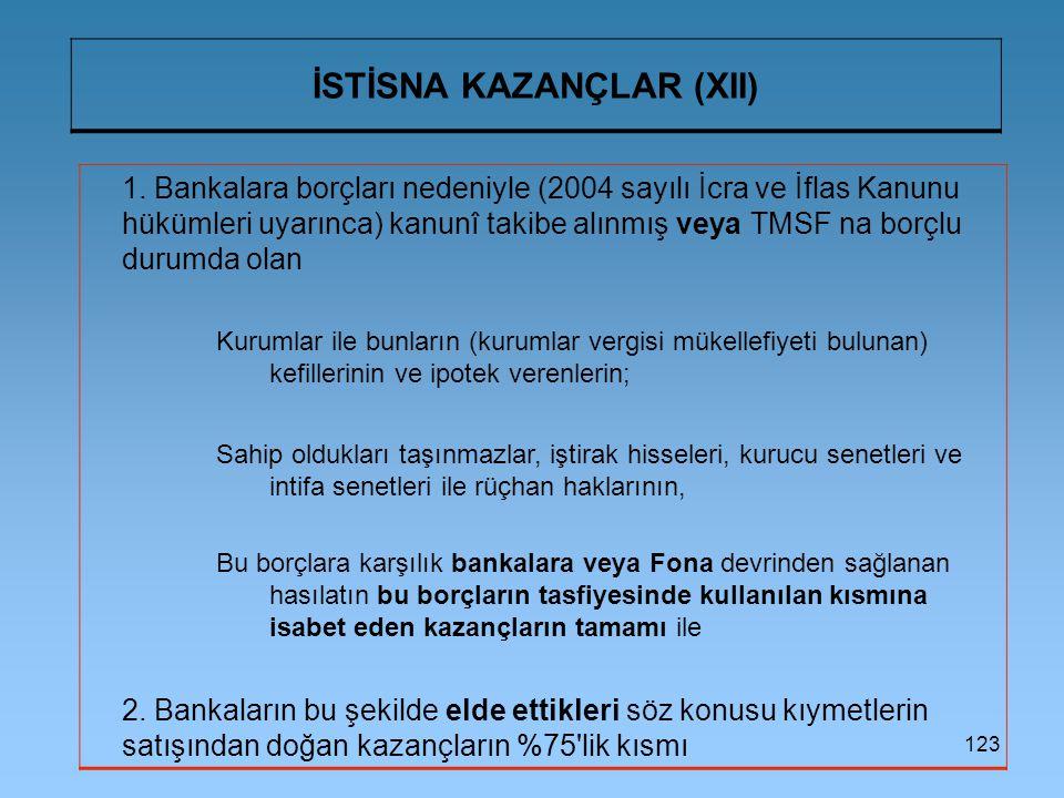 İSTİSNA KAZANÇLAR (XII)