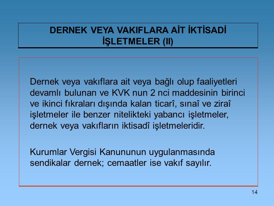 DERNEK VEYA VAKIFLARA AİT İKTİSADİ İŞLETMELER (II)