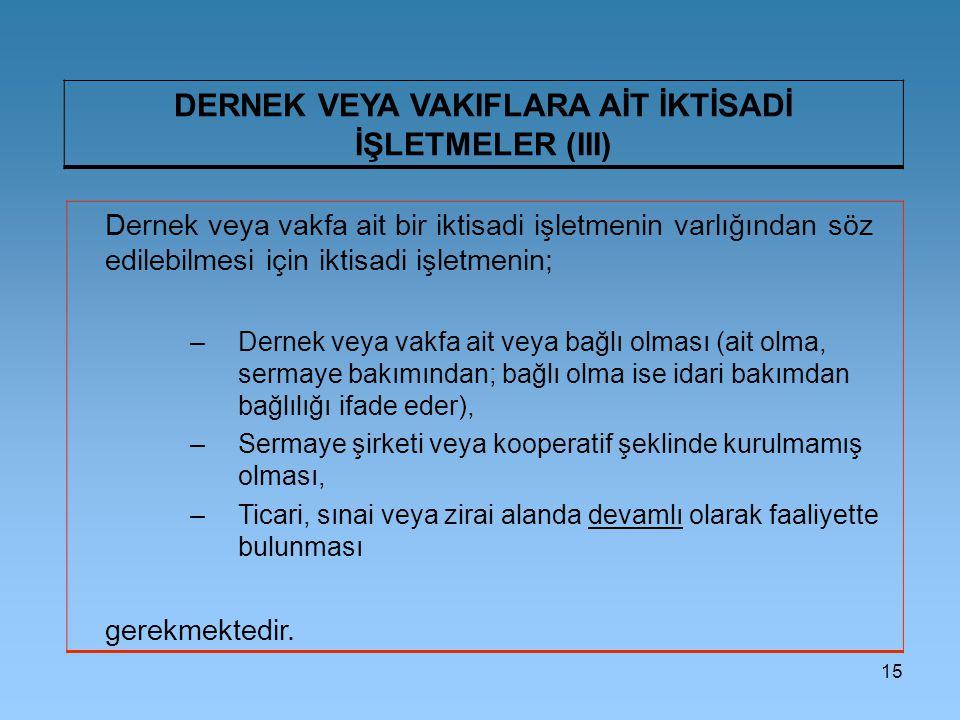 DERNEK VEYA VAKIFLARA AİT İKTİSADİ İŞLETMELER (III)