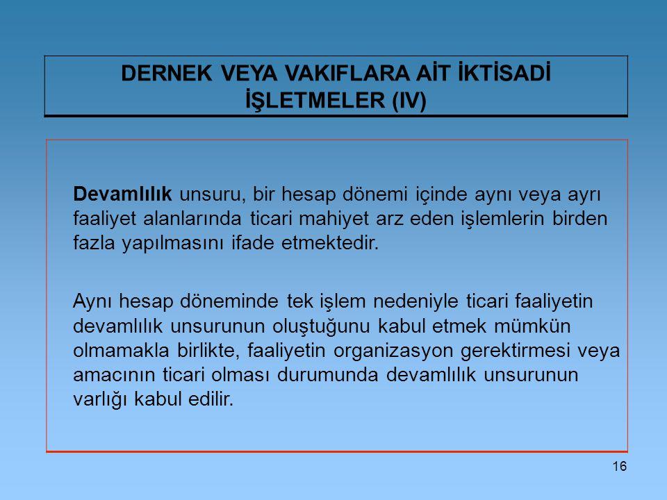 DERNEK VEYA VAKIFLARA AİT İKTİSADİ İŞLETMELER (IV)