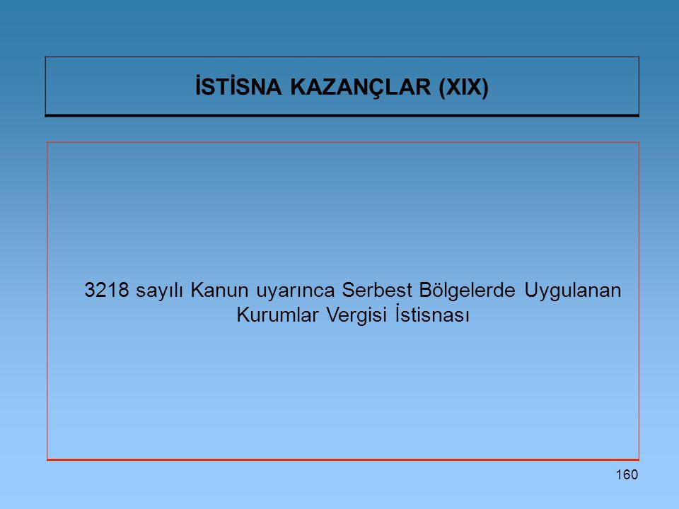 İSTİSNA KAZANÇLAR (XIX)