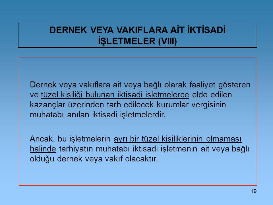 DERNEK VEYA VAKIFLARA AİT İKTİSADİ İŞLETMELER (VIII)