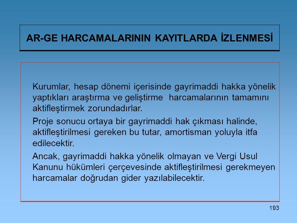 AR-GE HARCAMALARININ KAYITLARDA İZLENMESİ