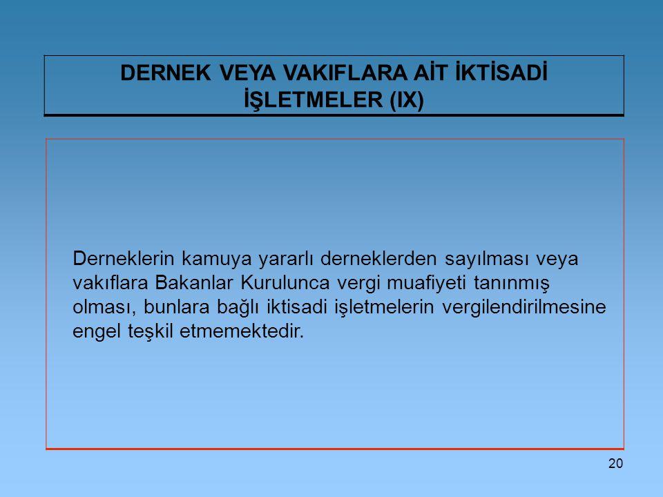 DERNEK VEYA VAKIFLARA AİT İKTİSADİ İŞLETMELER (IX)