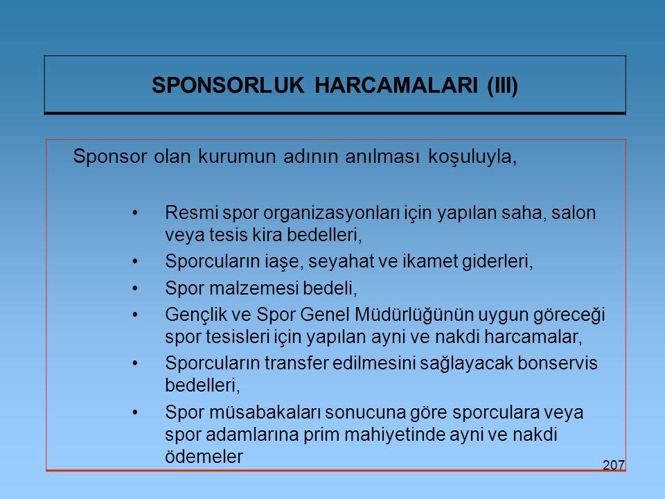 SPONSORLUK HARCAMALARI (III)