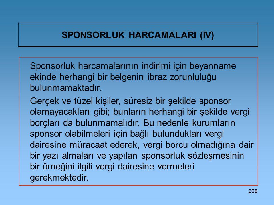 SPONSORLUK HARCAMALARI (IV)