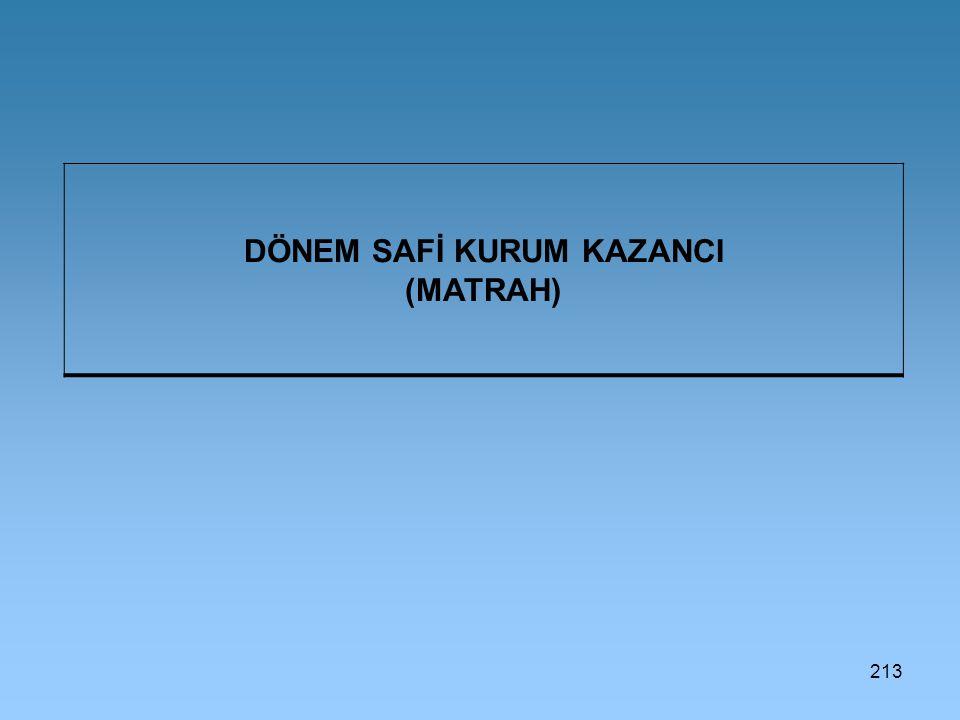 DÖNEM SAFİ KURUM KAZANCI