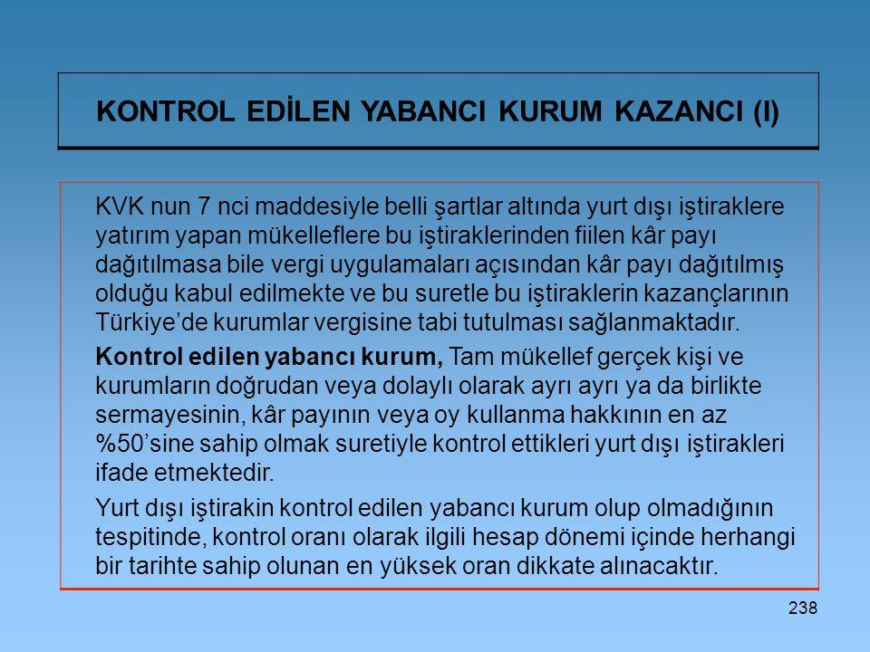 KONTROL EDİLEN YABANCI KURUM KAZANCI (I)