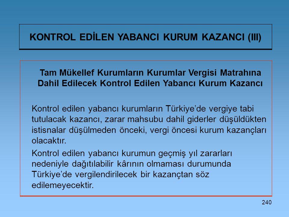 KONTROL EDİLEN YABANCI KURUM KAZANCI (III)