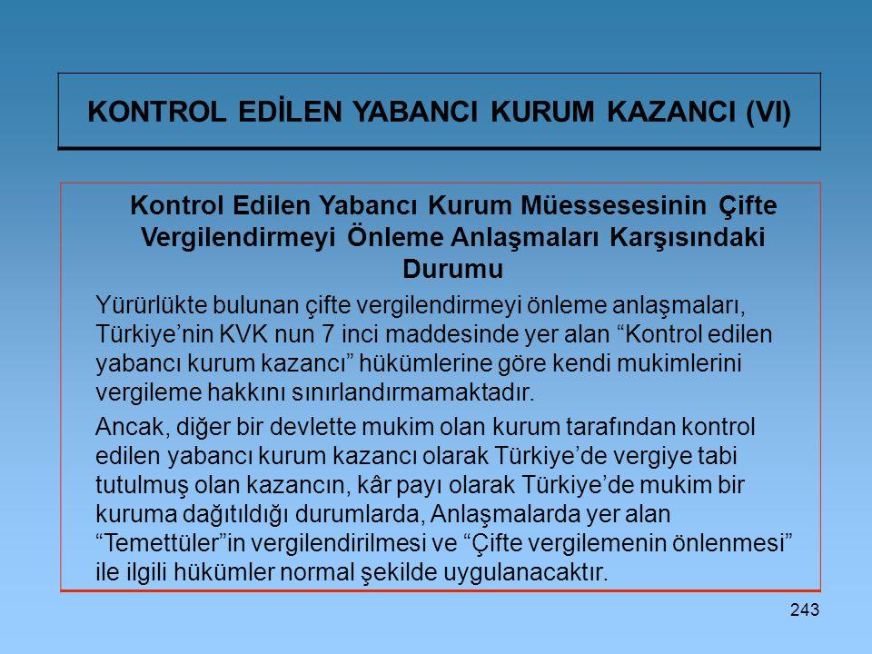 KONTROL EDİLEN YABANCI KURUM KAZANCI (VI)