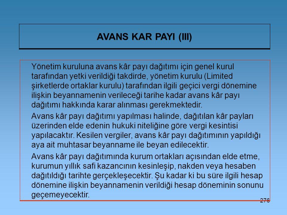 AVANS KAR PAYI (III)