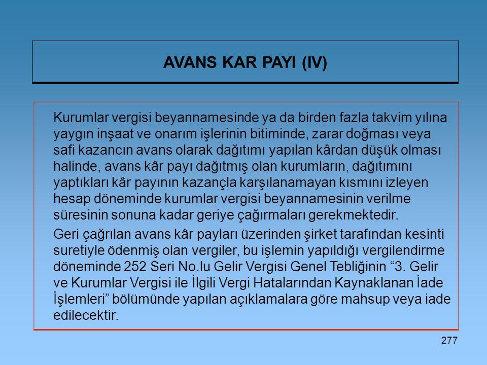 AVANS KAR PAYI (IV)