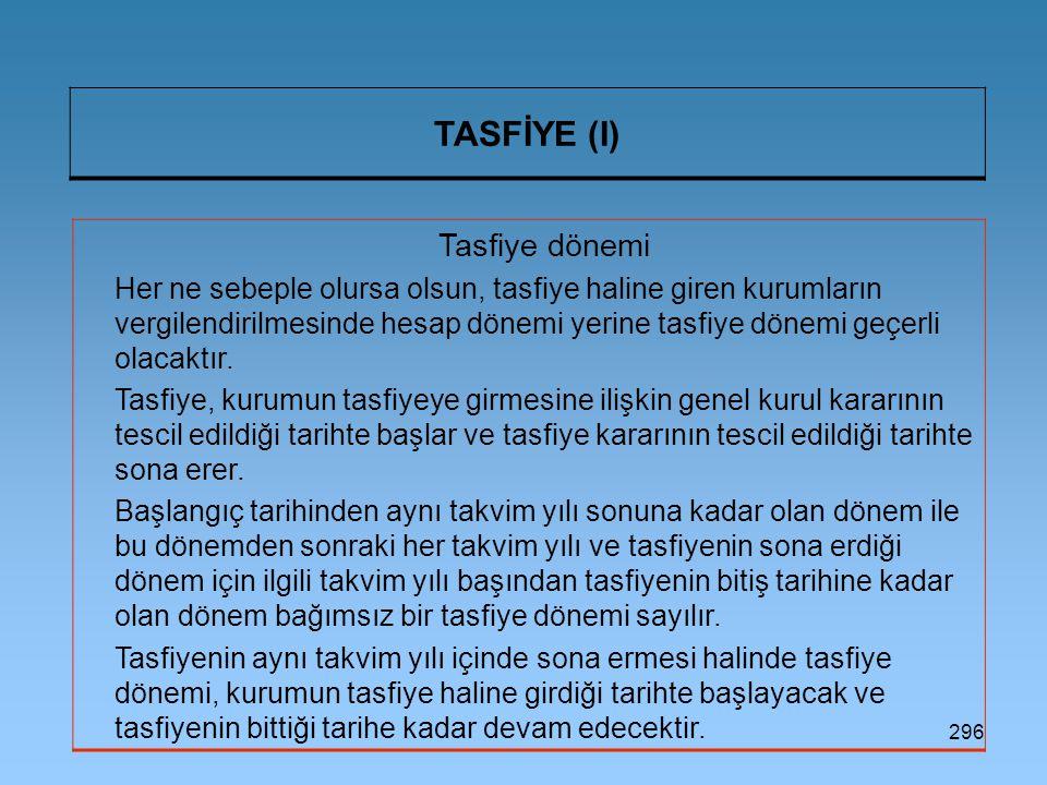 TASFİYE (I) Tasfiye dönemi