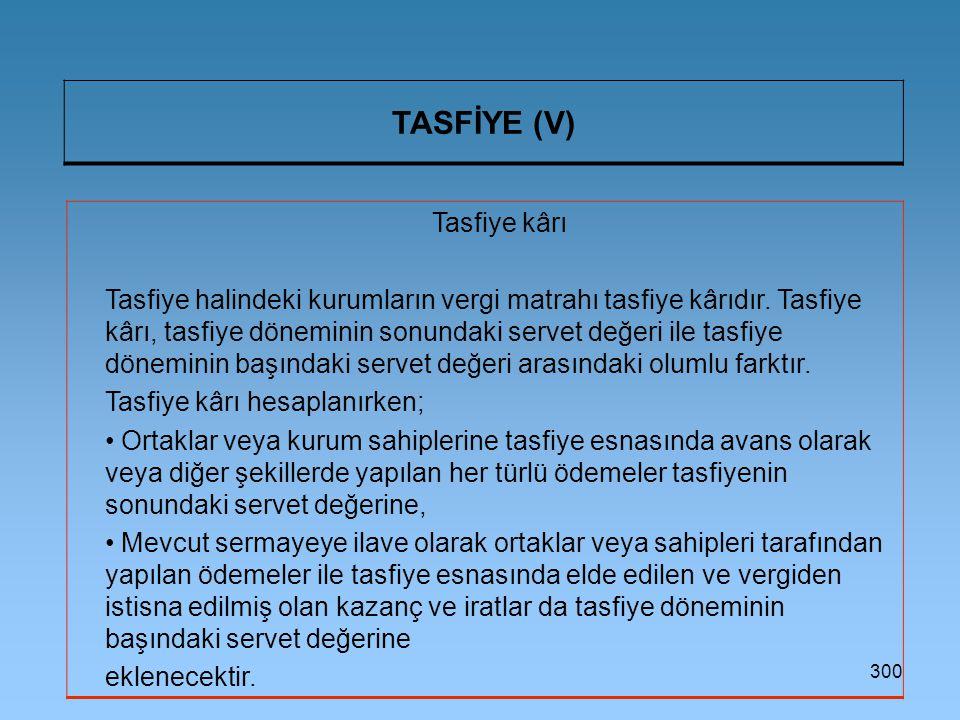 TASFİYE (V) Tasfiye kârı