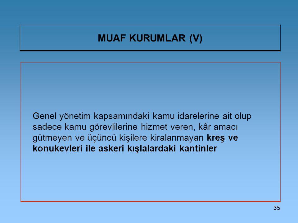 MUAF KURUMLAR (V)