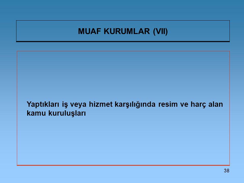 MUAF KURUMLAR (VII) Yaptıkları iş veya hizmet karşılığında resim ve harç alan kamu kuruluşları