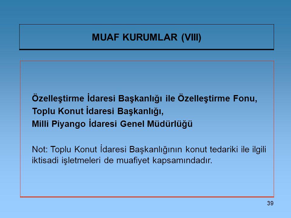 MUAF KURUMLAR (VIII) Özelleştirme İdaresi Başkanlığı ile Özelleştirme Fonu, Toplu Konut İdaresi Başkanlığı,