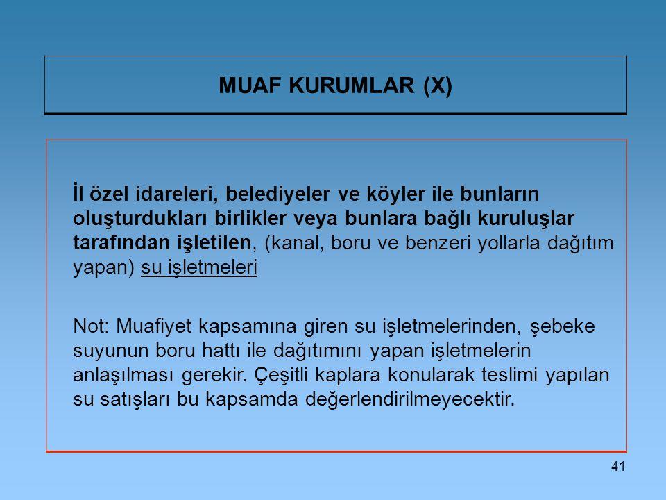 MUAF KURUMLAR (X)