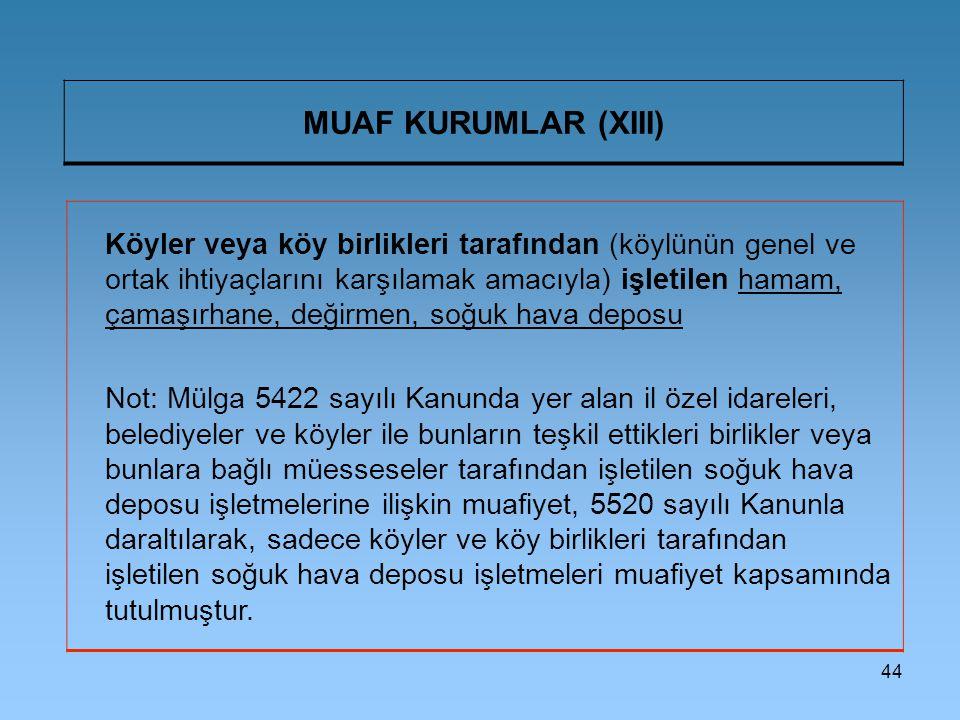 MUAF KURUMLAR (XIII)