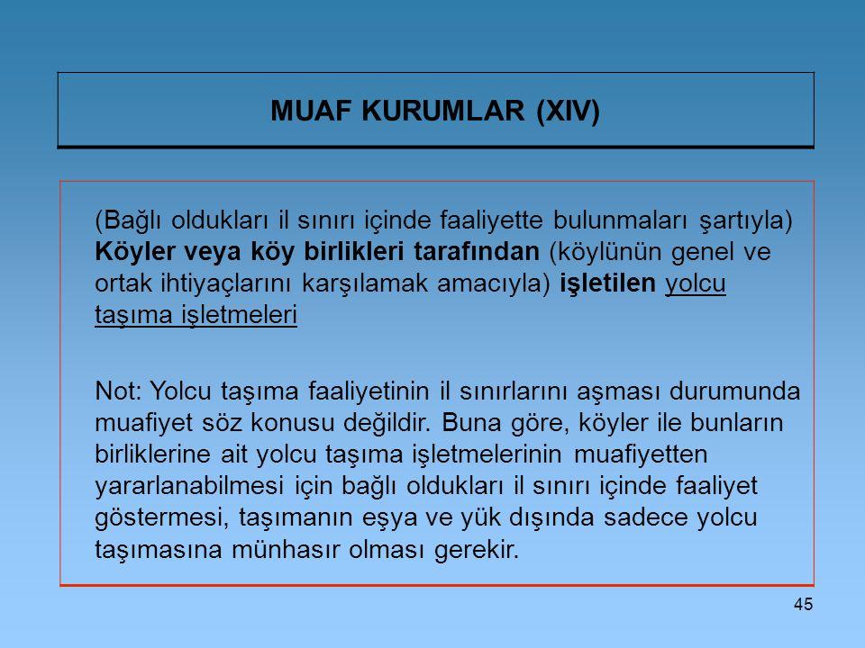MUAF KURUMLAR (XIV)