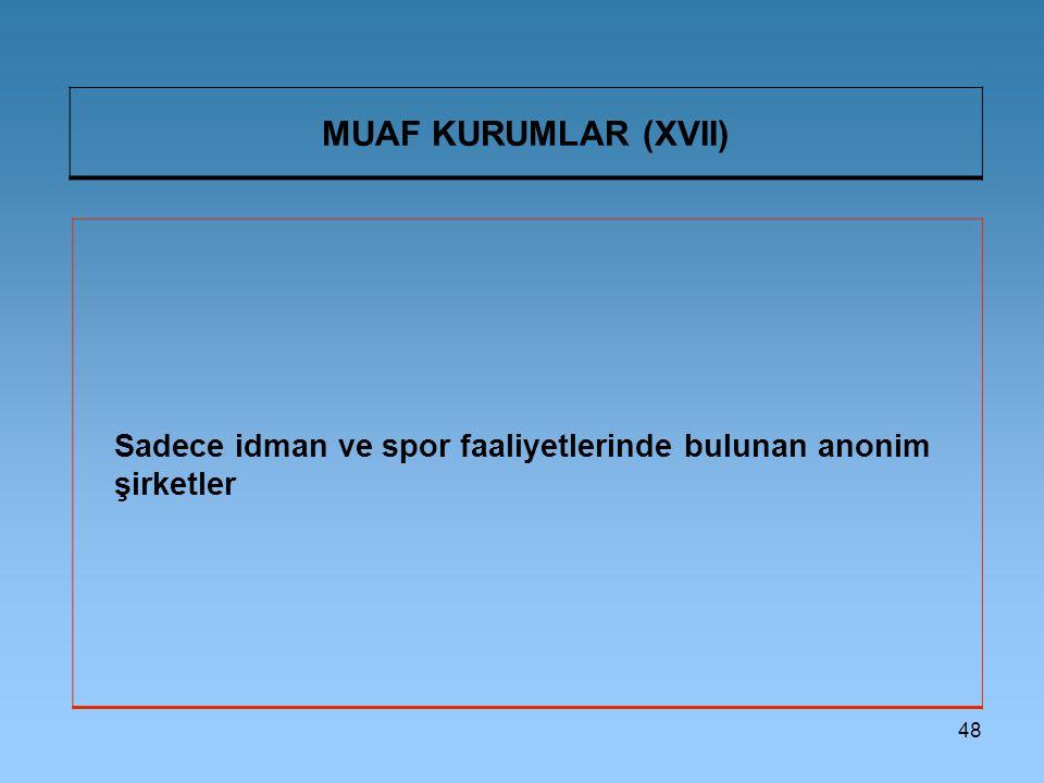 MUAF KURUMLAR (XVII) Sadece idman ve spor faaliyetlerinde bulunan anonim şirketler