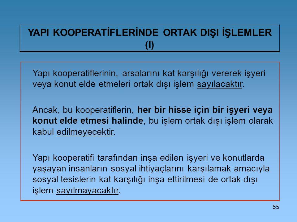 YAPI KOOPERATİFLERİNDE ORTAK DIŞI İŞLEMLER (I)