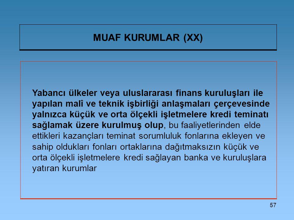 MUAF KURUMLAR (XX)