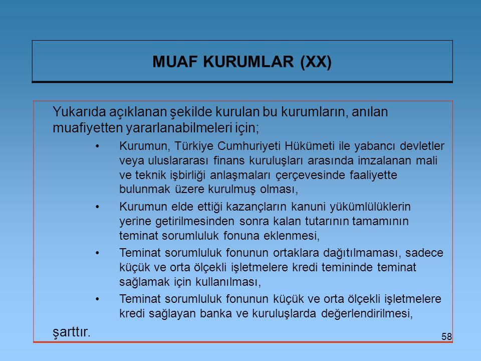 MUAF KURUMLAR (XX) Yukarıda açıklanan şekilde kurulan bu kurumların, anılan muafiyetten yararlanabilmeleri için;