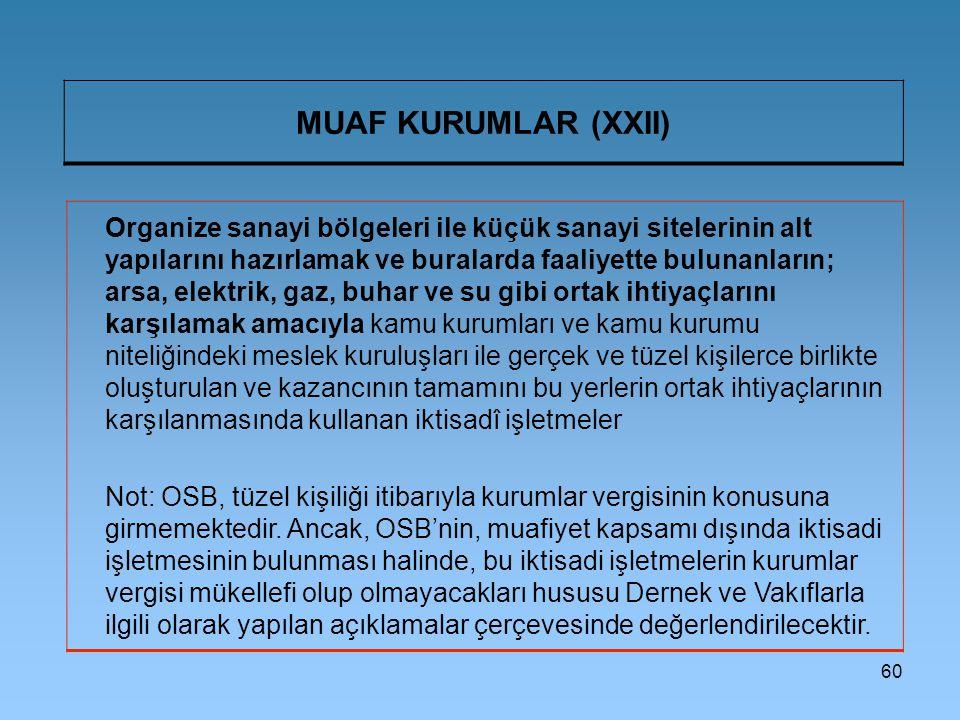 MUAF KURUMLAR (XXII)