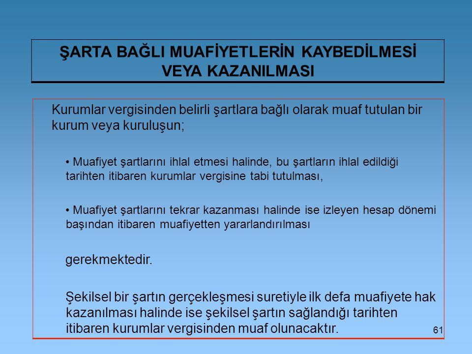 ŞARTA BAĞLI MUAFİYETLERİN KAYBEDİLMESİ VEYA KAZANILMASI