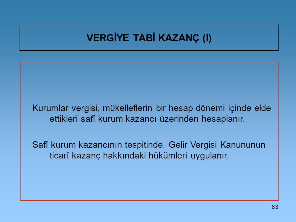 VERGİYE TABİ KAZANÇ (I)