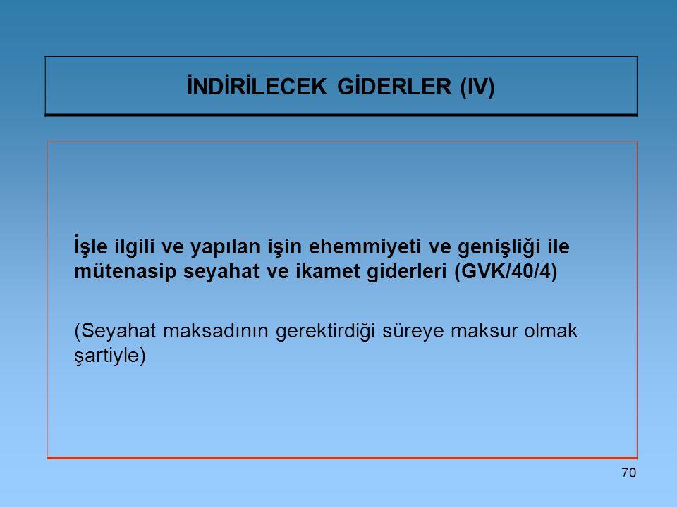 İNDİRİLECEK GİDERLER (IV)