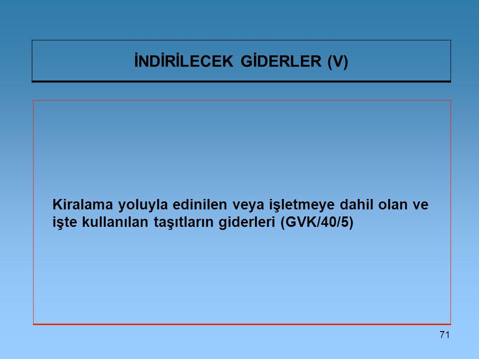 İNDİRİLECEK GİDERLER (V)