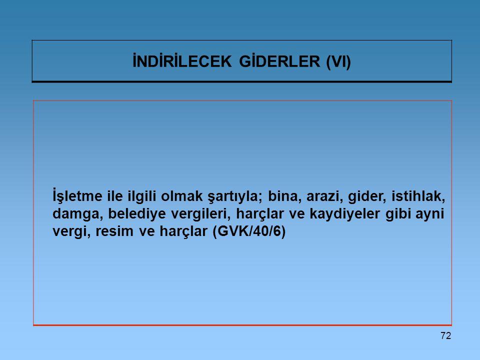 İNDİRİLECEK GİDERLER (VI)